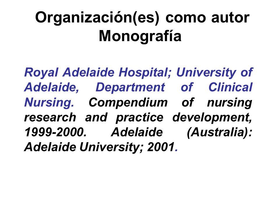 Organización(es) como autor Monografía