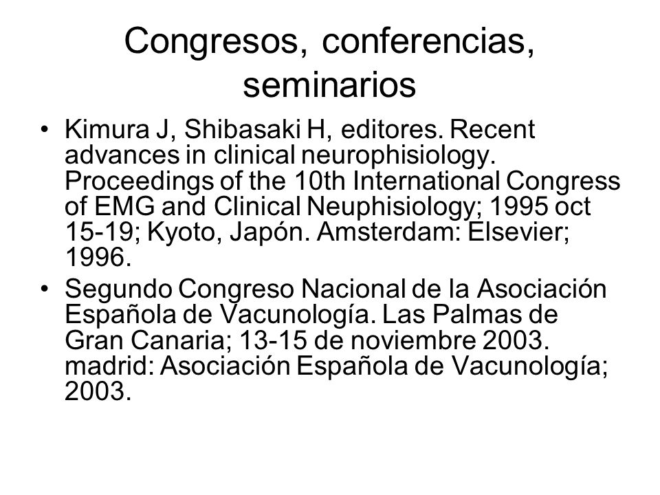 Congresos, conferencias, seminarios