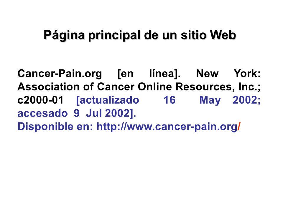 Página principal de un sitio Web
