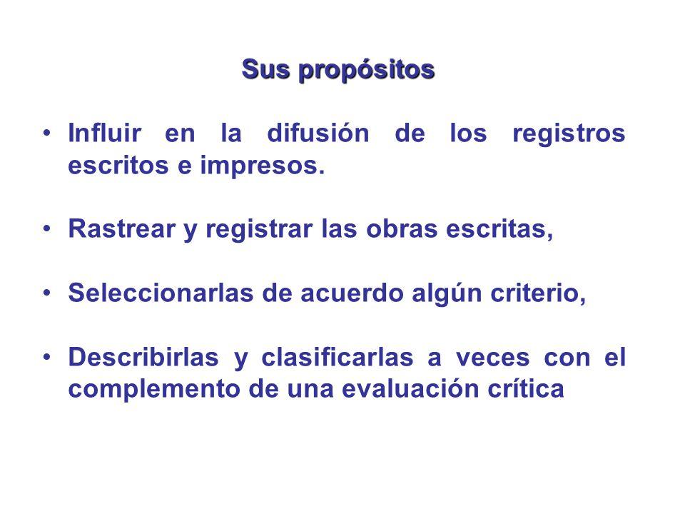 Sus propósitos Influir en la difusión de los registros escritos e impresos. Rastrear y registrar las obras escritas,