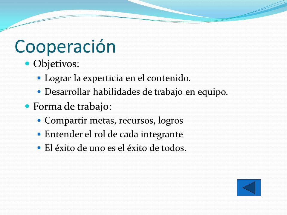 Cooperación Objetivos: Forma de trabajo: