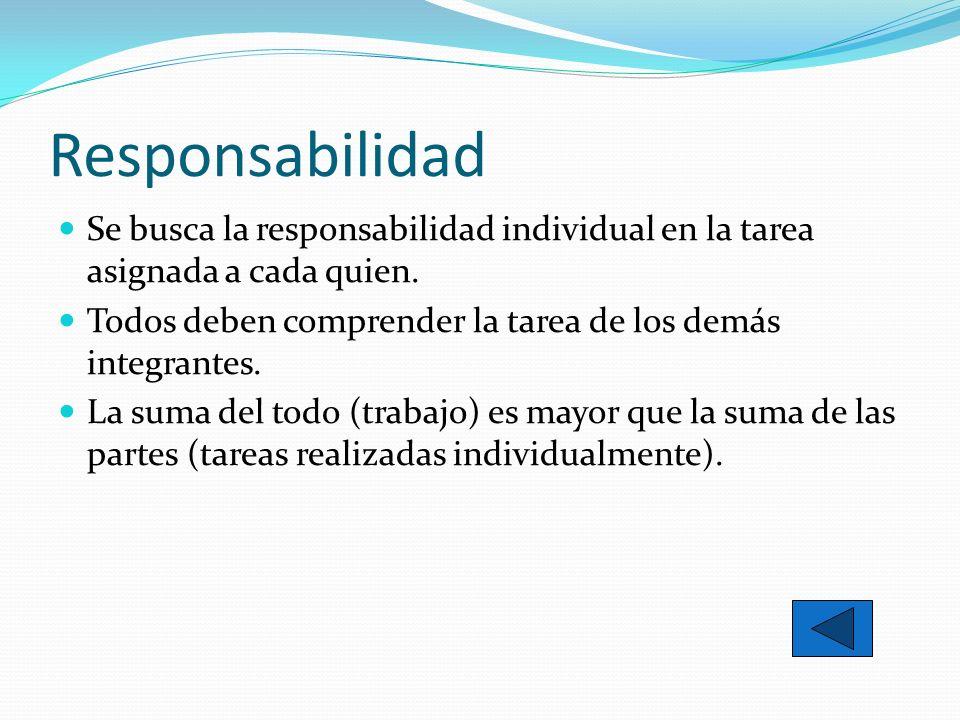 ResponsabilidadSe busca la responsabilidad individual en la tarea asignada a cada quien. Todos deben comprender la tarea de los demás integrantes.