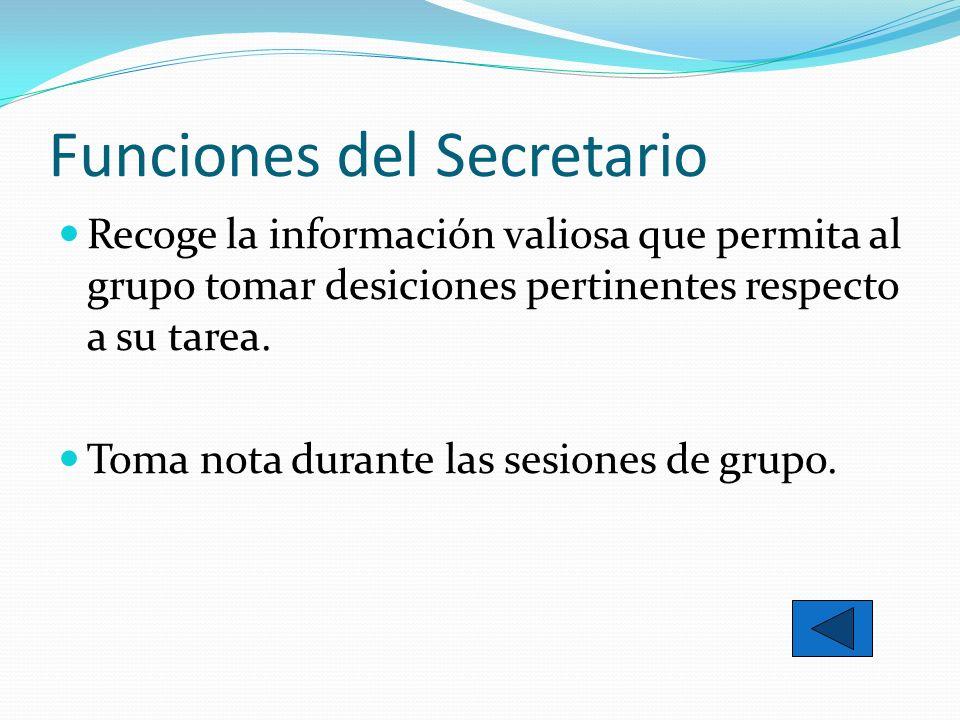 Funciones del Secretario