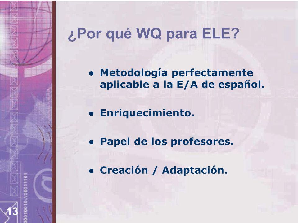 ¿Por qué WQ para ELE Metodología perfectamente aplicable a la E/A de español. Enriquecimiento. Papel de los profesores.