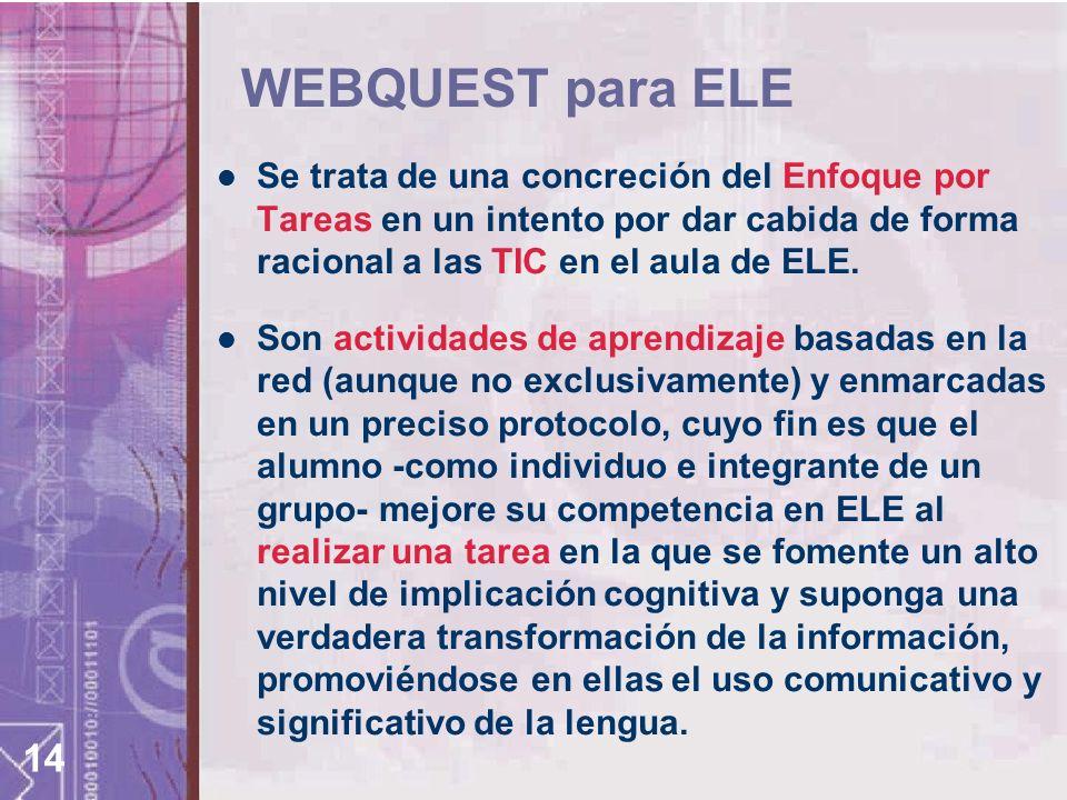 WEBQUEST para ELE Se trata de una concreción del Enfoque por Tareas en un intento por dar cabida de forma racional a las TIC en el aula de ELE.