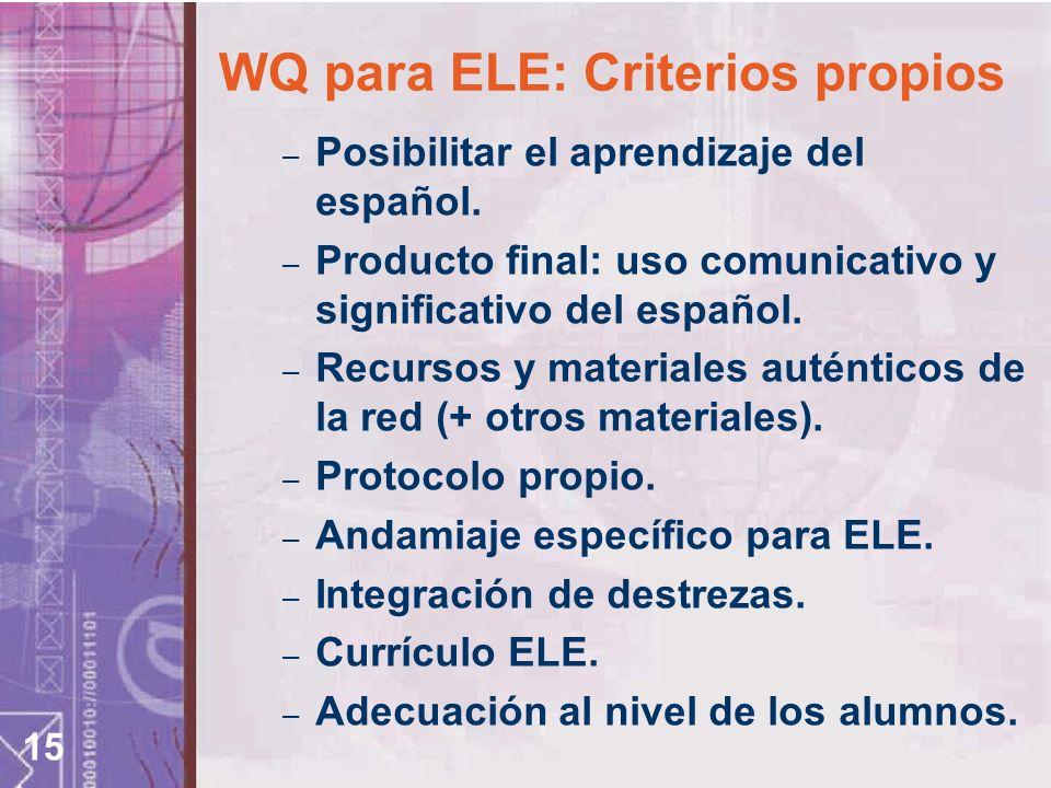 WQ para ELE: Criterios propios