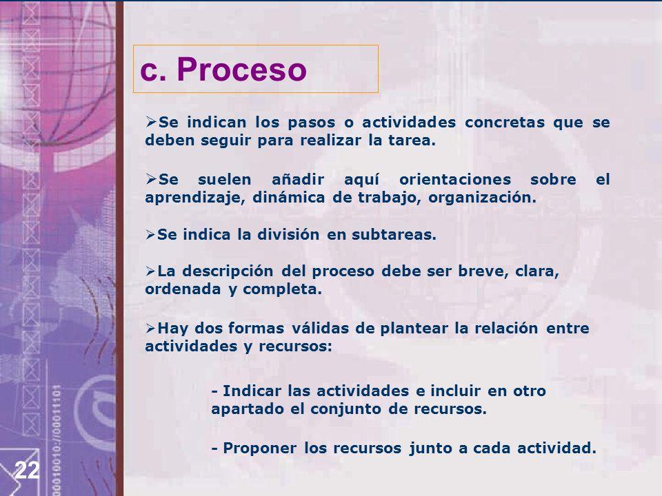c. Proceso Se indican los pasos o actividades concretas que se deben seguir para realizar la tarea.