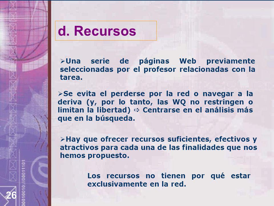 d. Recursos Una serie de páginas Web previamente seleccionadas por el profesor relacionadas con la tarea.