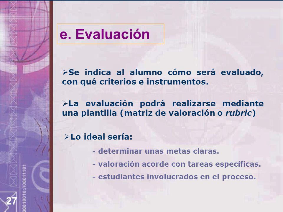 e. Evaluación Se indica al alumno cómo será evaluado, con qué criterios e instrumentos.