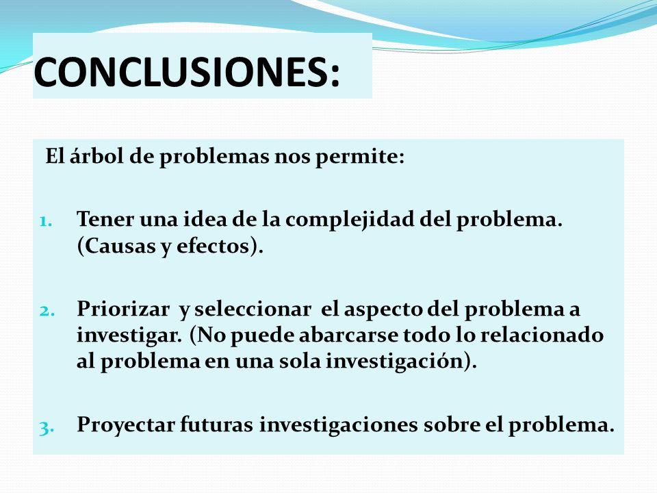 CONCLUSIONES: El árbol de problemas nos permite:
