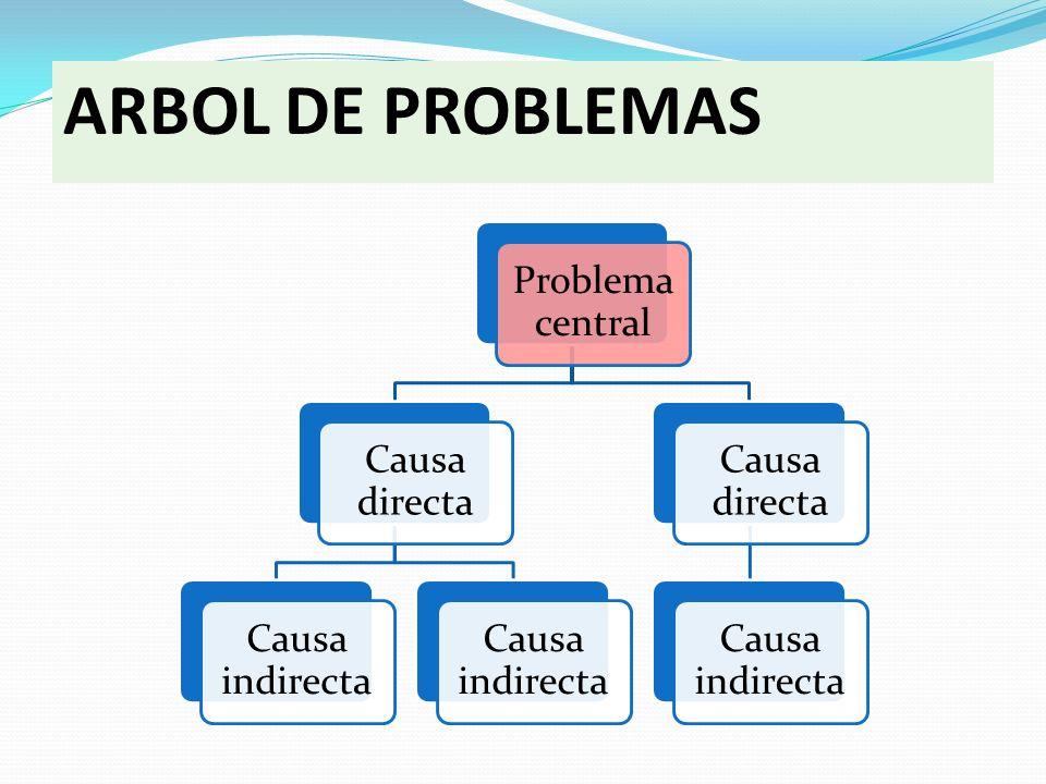 ARBOL DE PROBLEMAS Problema central Causa directa Causa indirecta