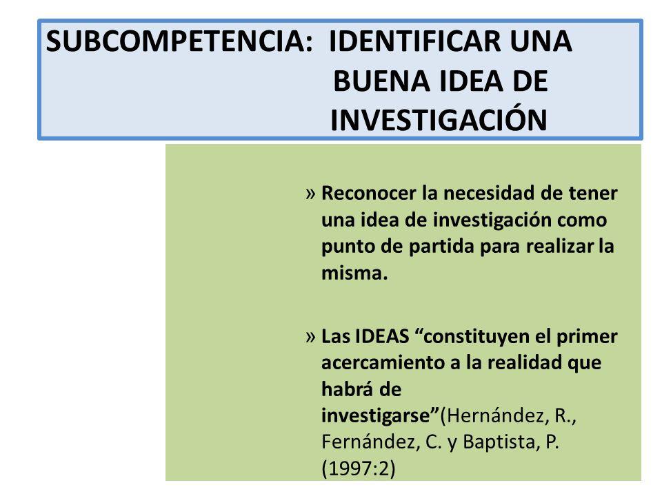 SUBCOMPETENCIA: IDENTIFICAR UNA BUENA IDEA DE INVESTIGACIÓN