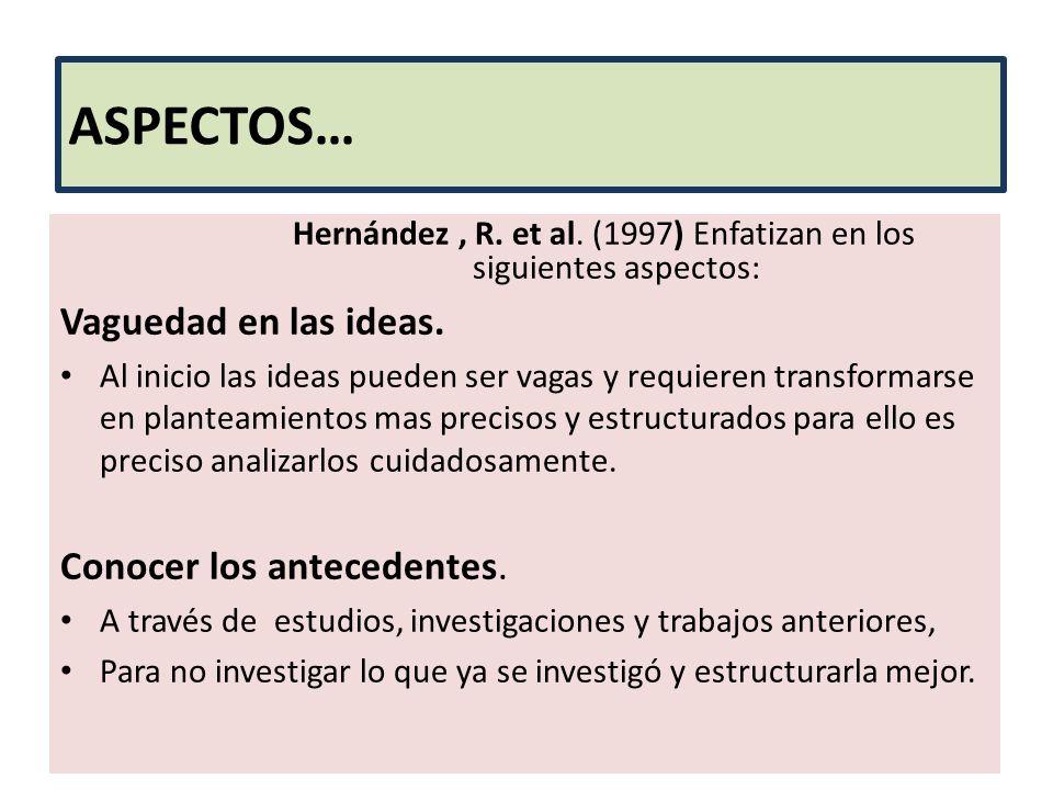 Hernández , R. et al. (1997) Enfatizan en los siguientes aspectos: