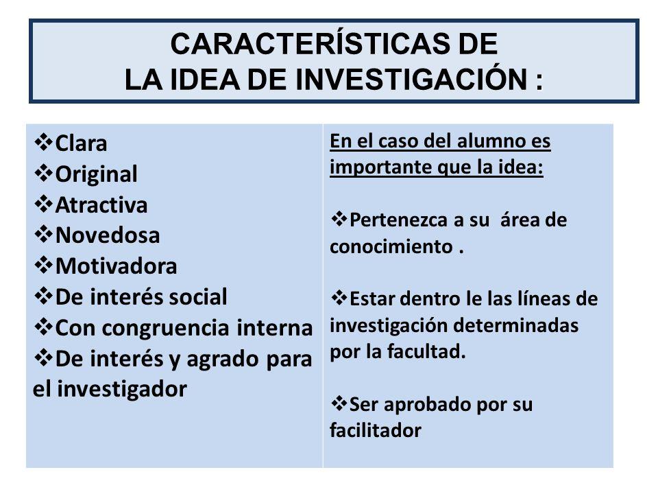 LA IDEA DE INVESTIGACIÓN :