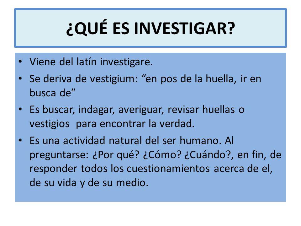 ¿QUÉ ES INVESTIGAR Viene del latín investigare.