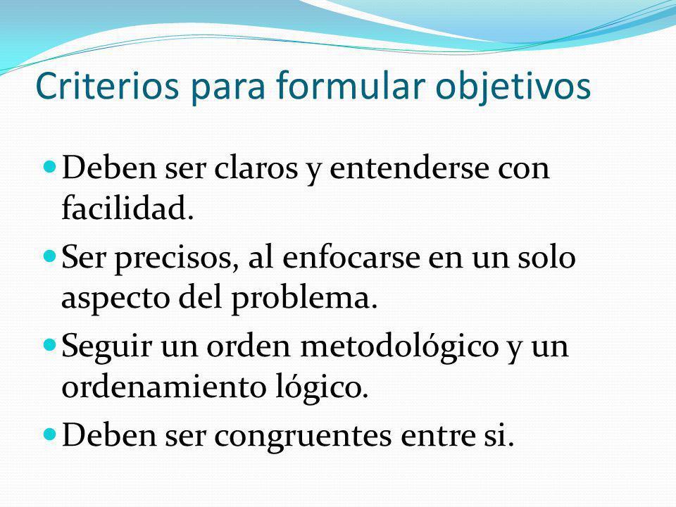 Criterios para formular objetivos