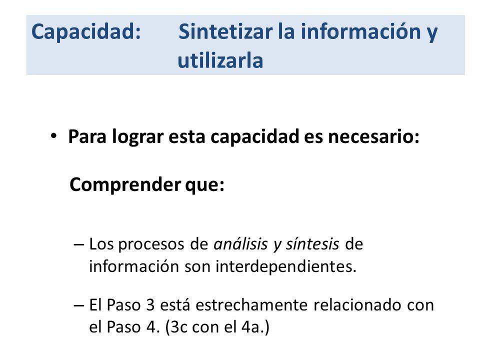 Capacidad: Sintetizar la información y utilizarla