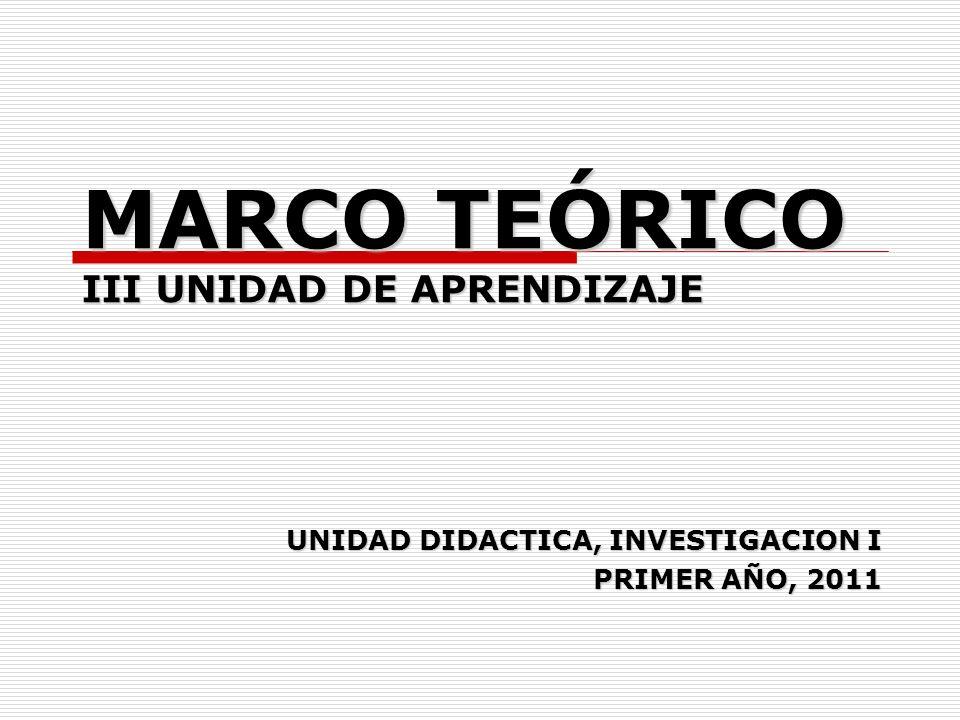 MARCO TEÓRICO III UNIDAD DE APRENDIZAJE