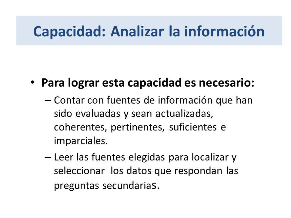 Capacidad: Analizar la información