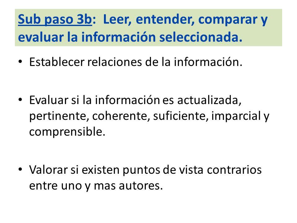 Sub paso 3b: Leer, entender, comparar y evaluar la información seleccionada.