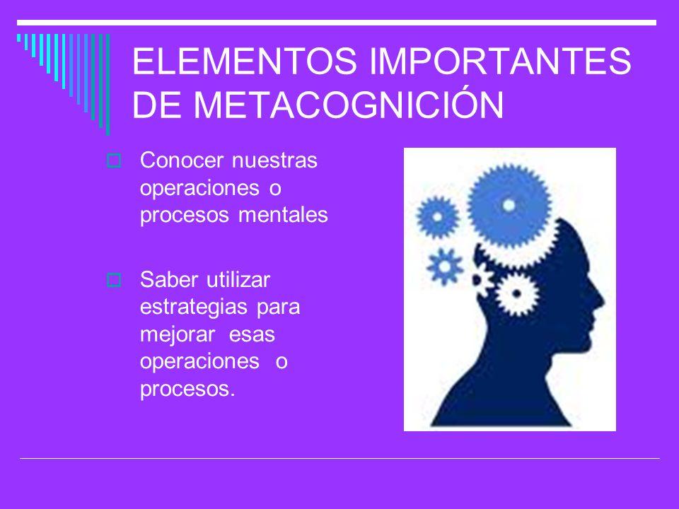 ELEMENTOS IMPORTANTES DE METACOGNICIÓN