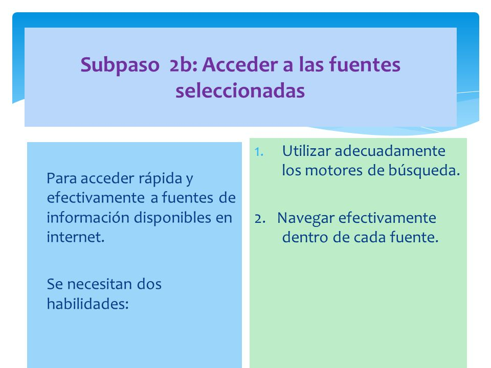 Subpaso 2b: Acceder a las fuentes seleccionadas