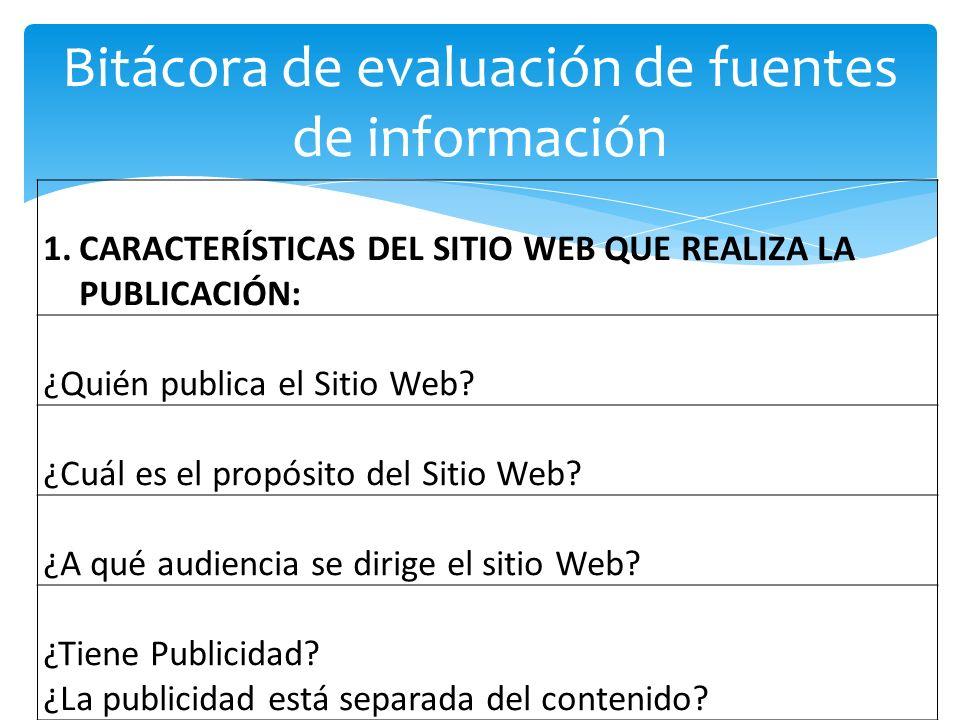 Bitácora de evaluación de fuentes de información