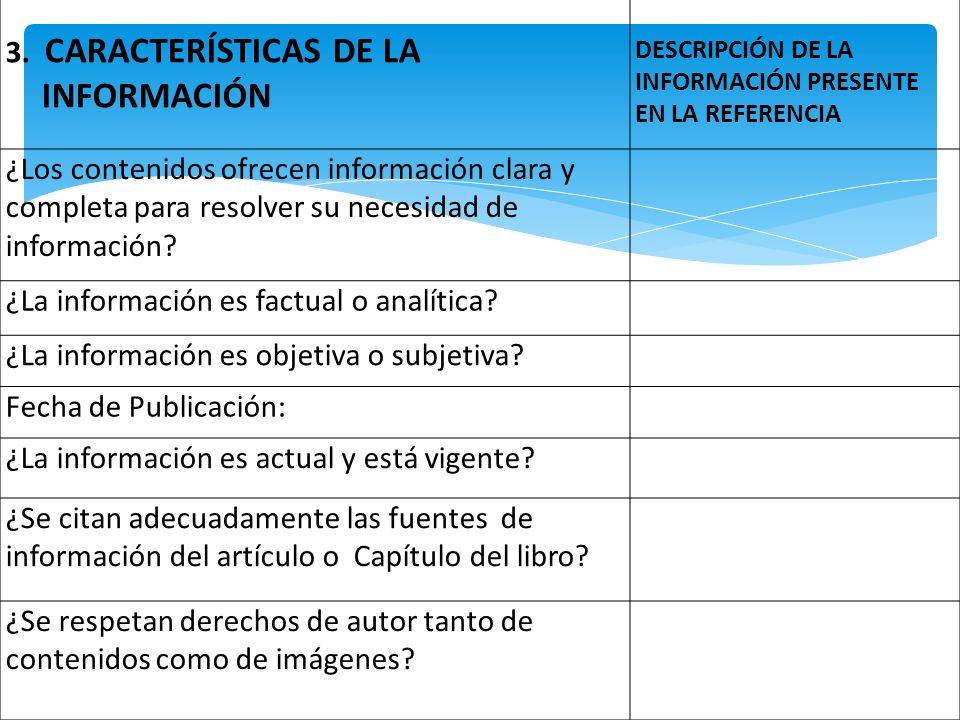3. CARACTERÍSTICAS DE LA INFORMACIÓN