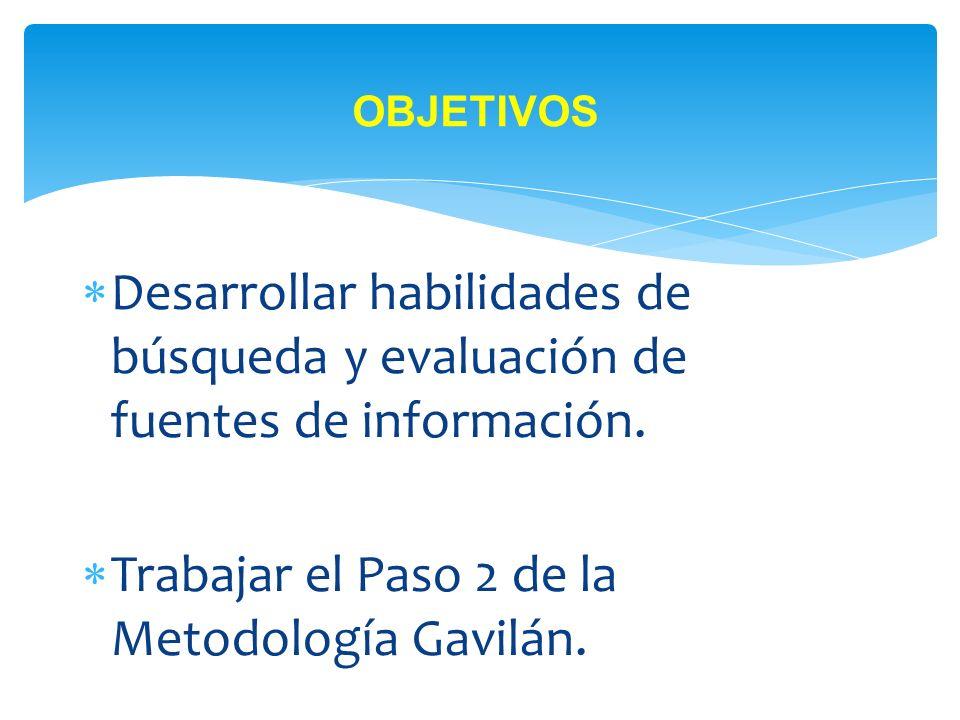 Trabajar el Paso 2 de la Metodología Gavilán.