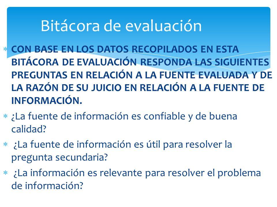Bitácora de evaluación
