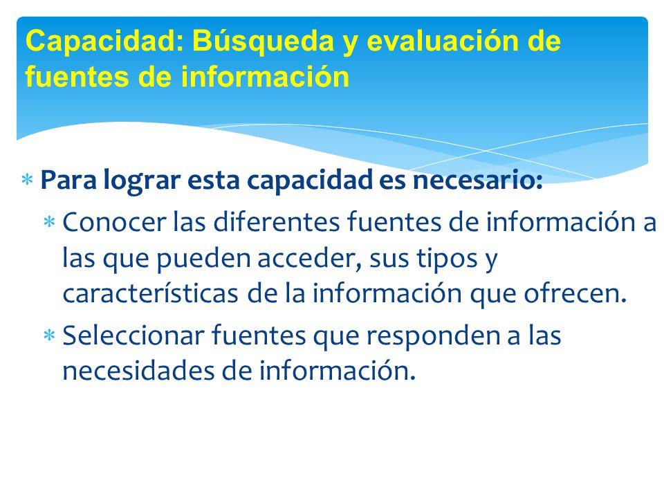 Capacidad: Búsqueda y evaluación de fuentes de información
