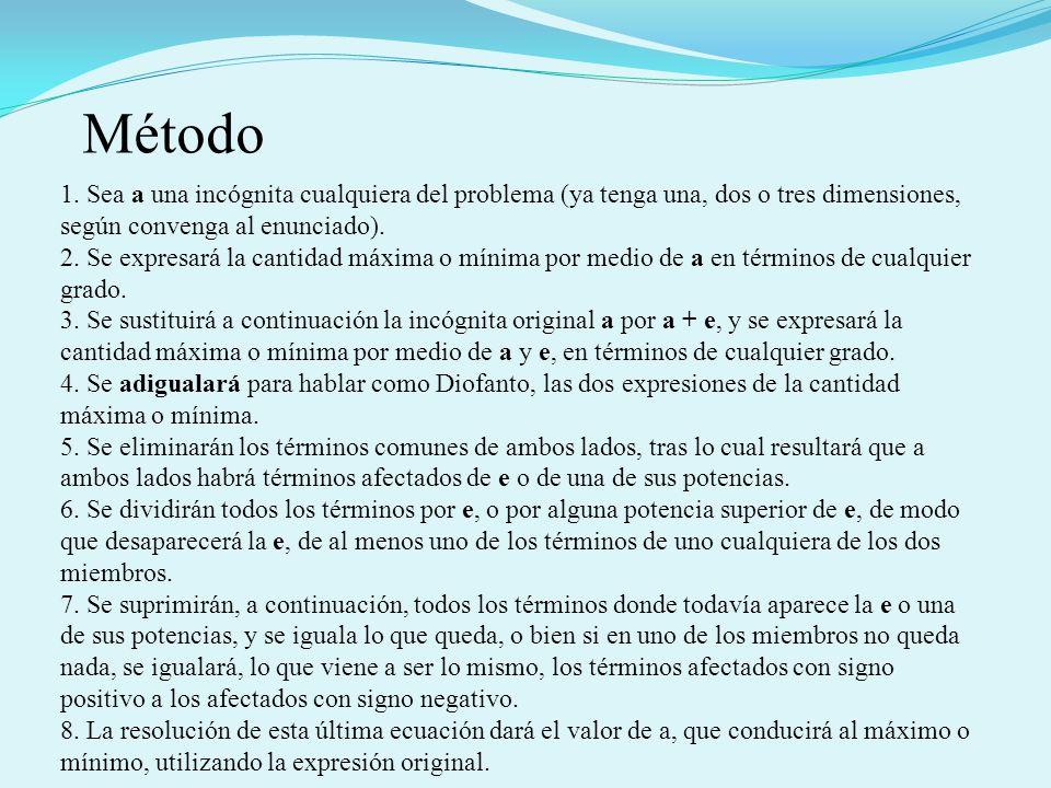 Método 1. Sea a una incógnita cualquiera del problema (ya tenga una, dos o tres dimensiones, según convenga al enunciado).