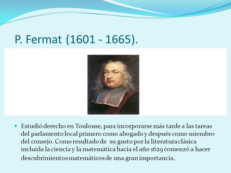 P. Fermat (1601 - 1665).