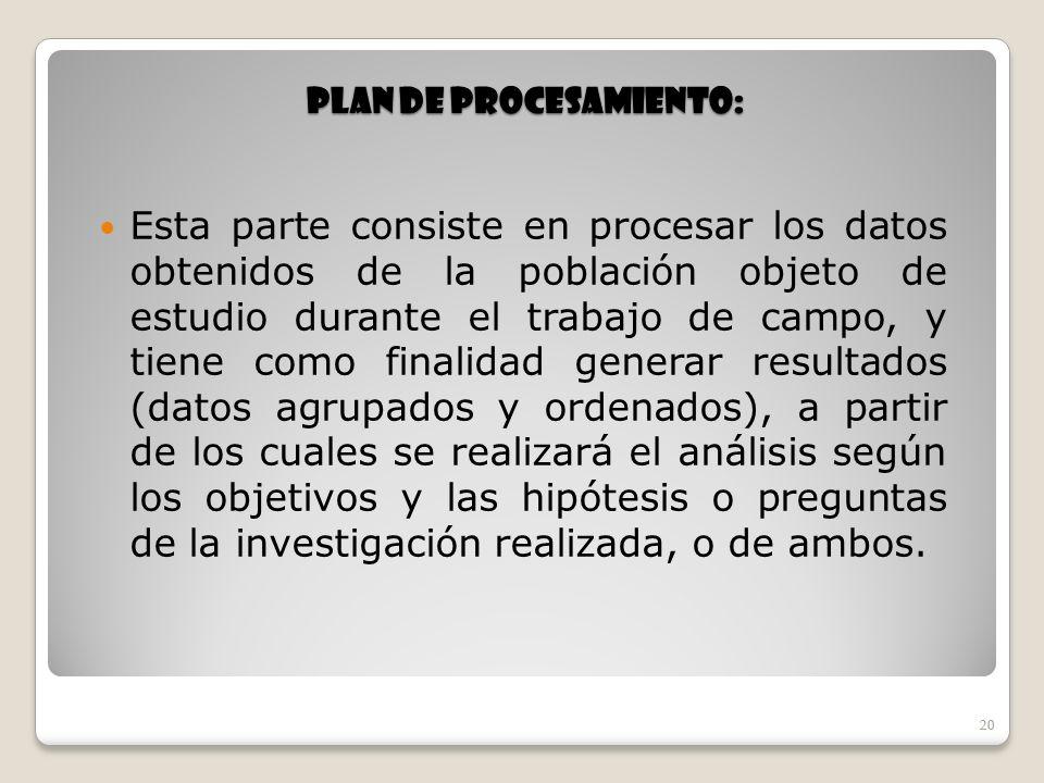 Plan de procesamiento: