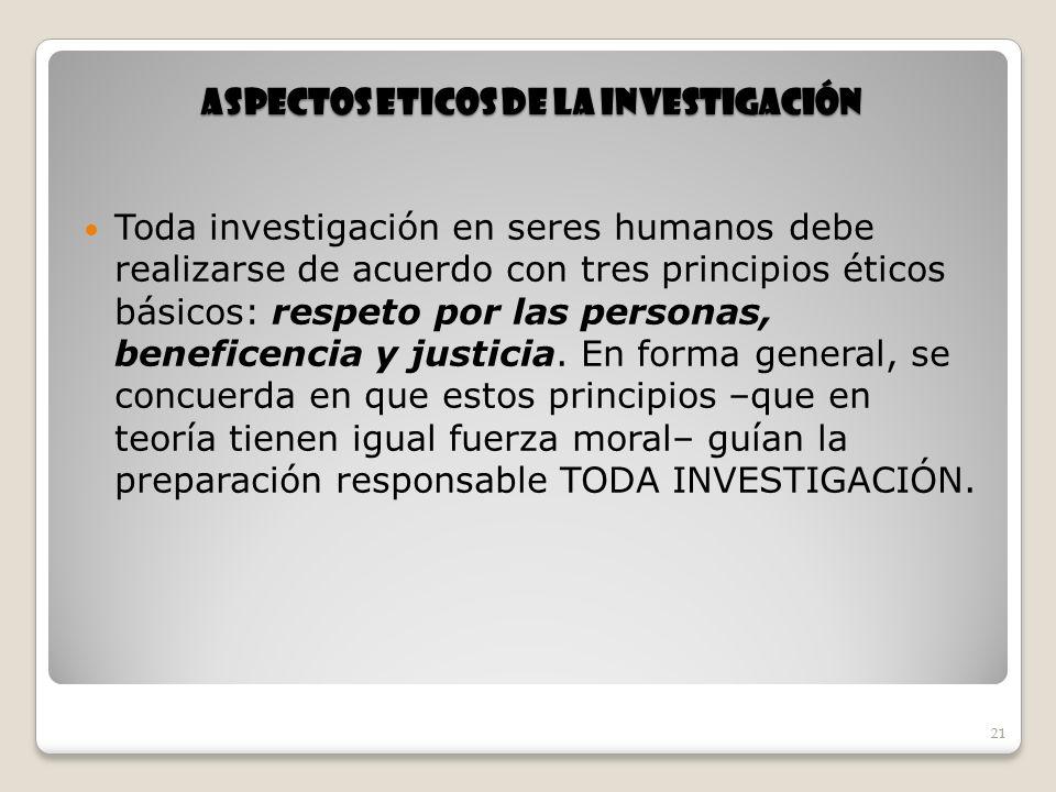 ASPECTOS ETICOS DE LA INVESTIGACIÓN