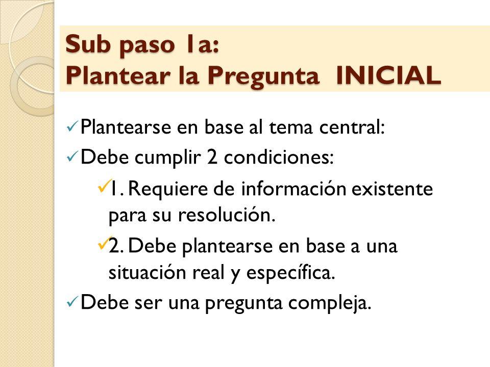 Sub paso 1a: Plantear la Pregunta INICIAL