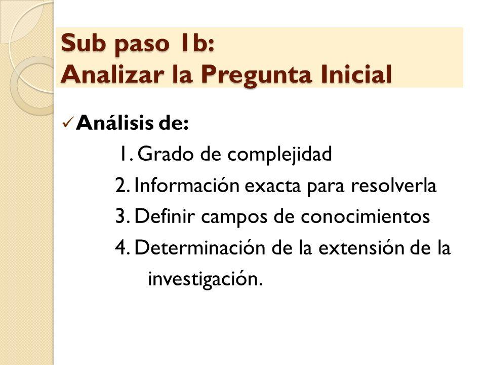 Sub paso 1b: Analizar la Pregunta Inicial