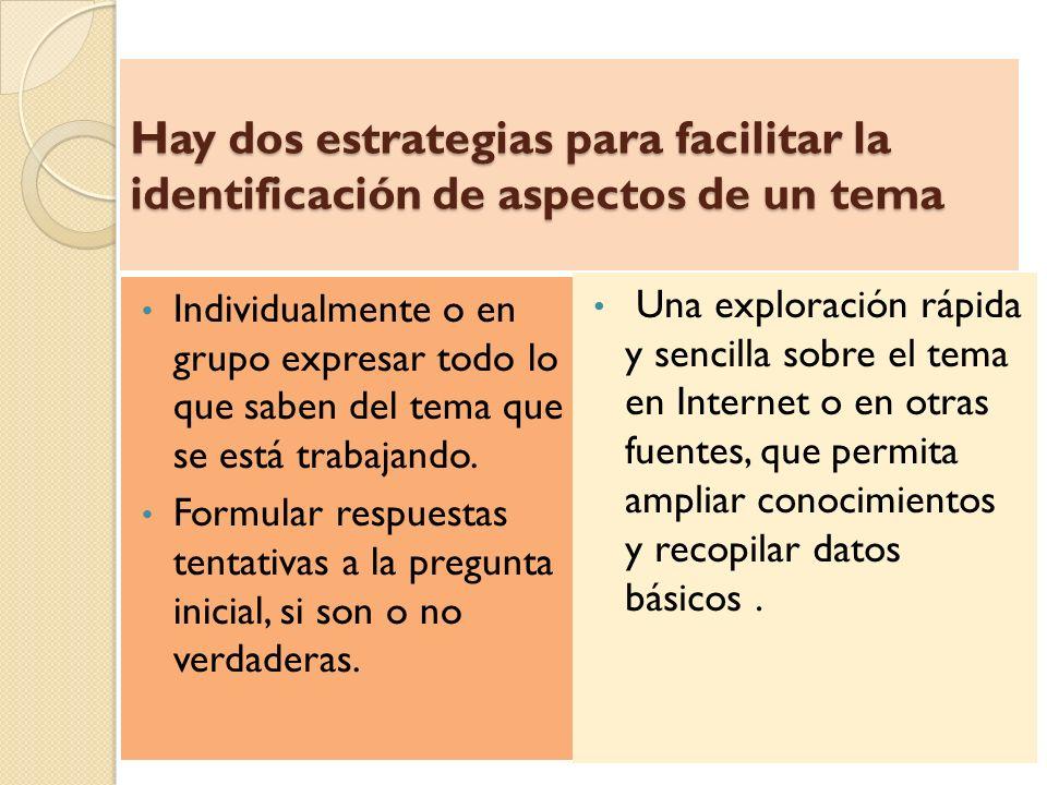 Hay dos estrategias para facilitar la identificación de aspectos de un tema