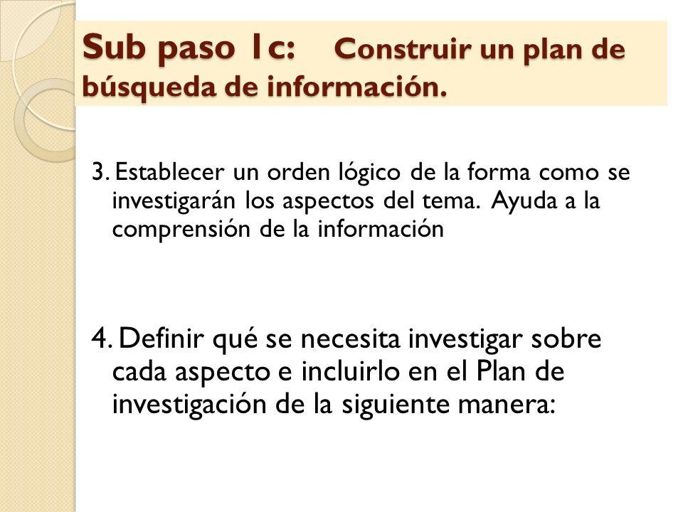 Sub paso 1c: Construir un plan de búsqueda de información.