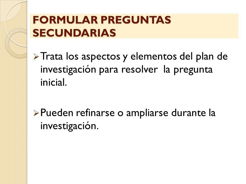FORMULAR PREGUNTAS SECUNDARIAS