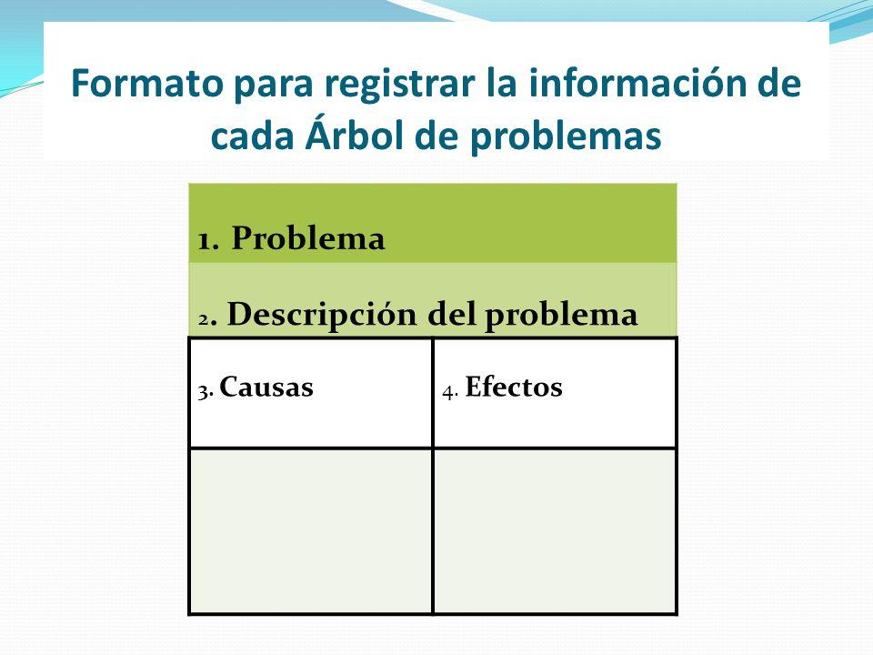 Formato para registrar la información de cada Árbol de problemas