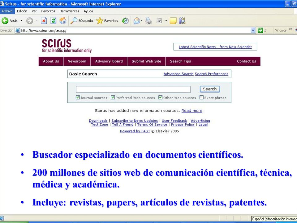 Buscador especializado en documentos científicos.