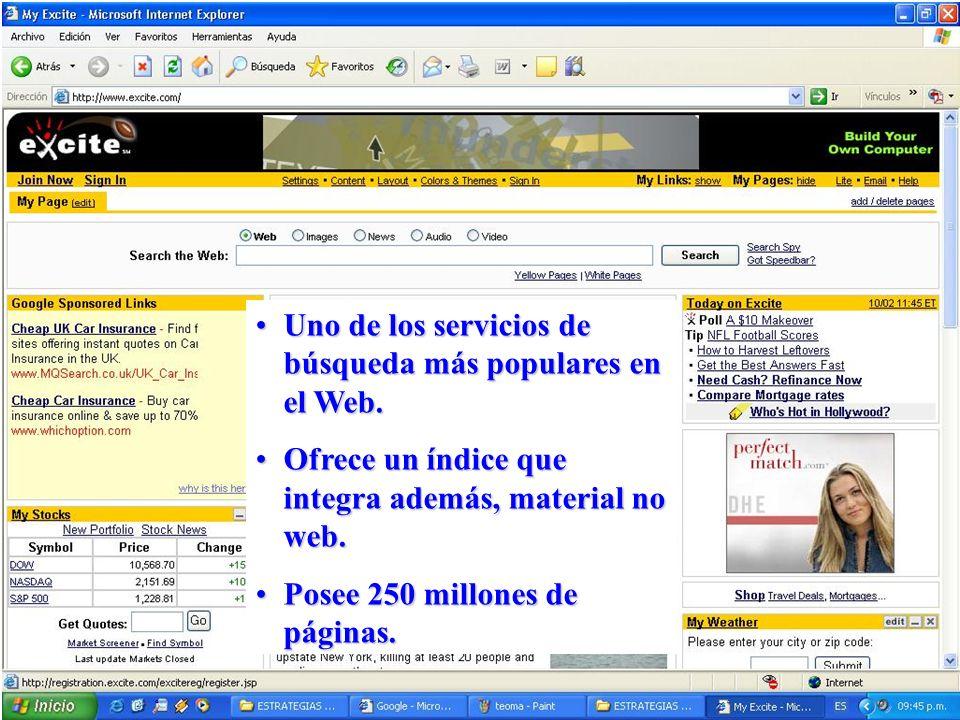 Uno de los servicios de búsqueda más populares en el Web.