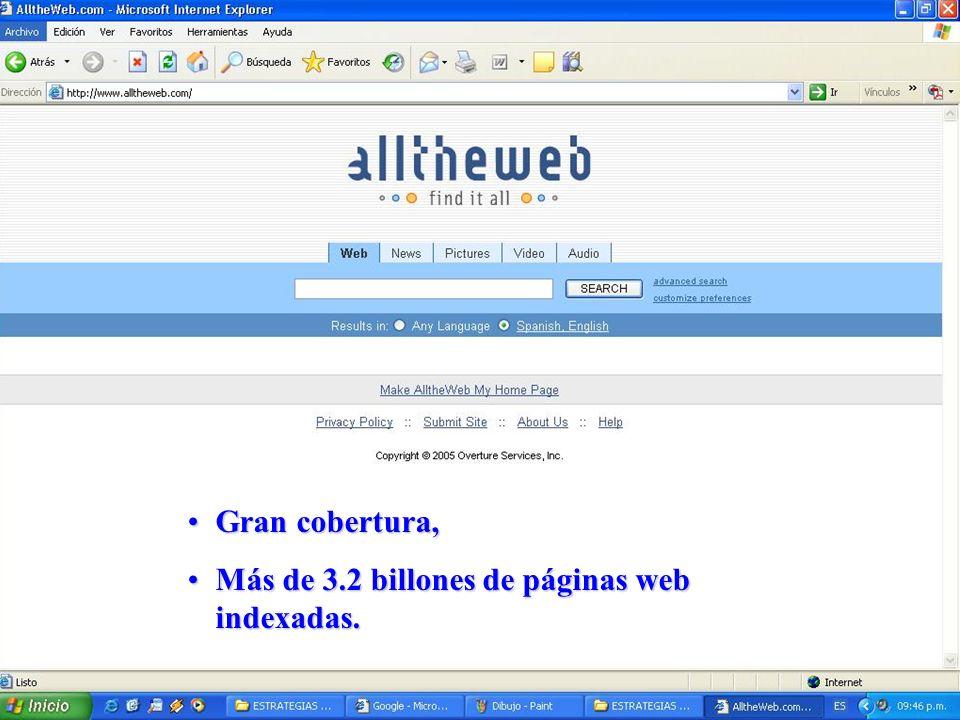 Gran cobertura, Más de 3.2 billones de páginas web indexadas.