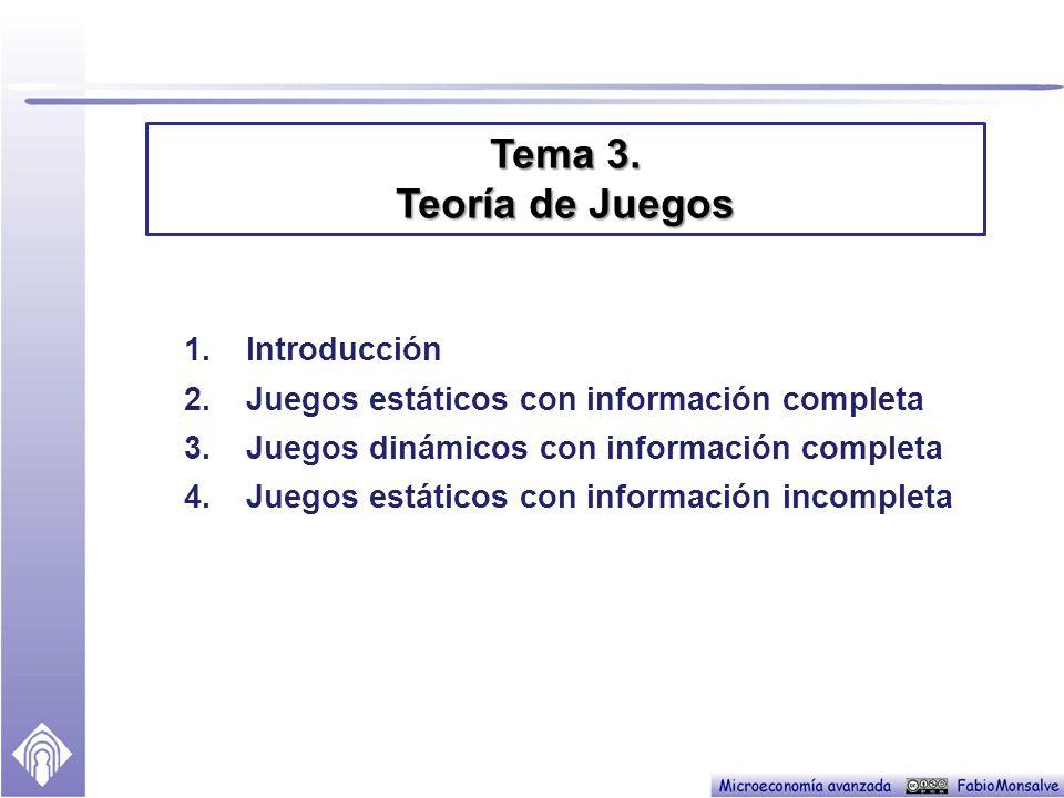 Tema 3. Teoría de Juegos Introducción