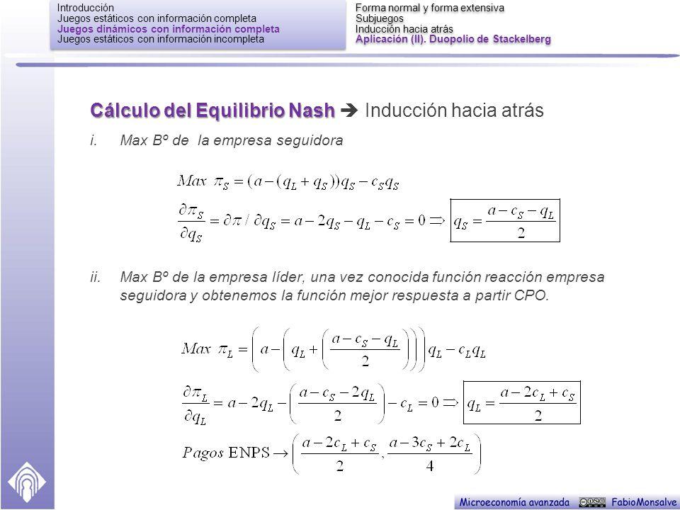 Cálculo del Equilibrio Nash  Inducción hacia atrás