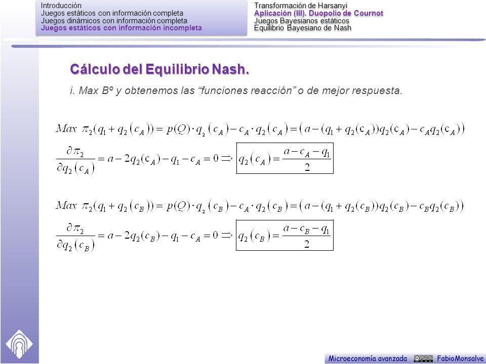 Cálculo del Equilibrio Nash.