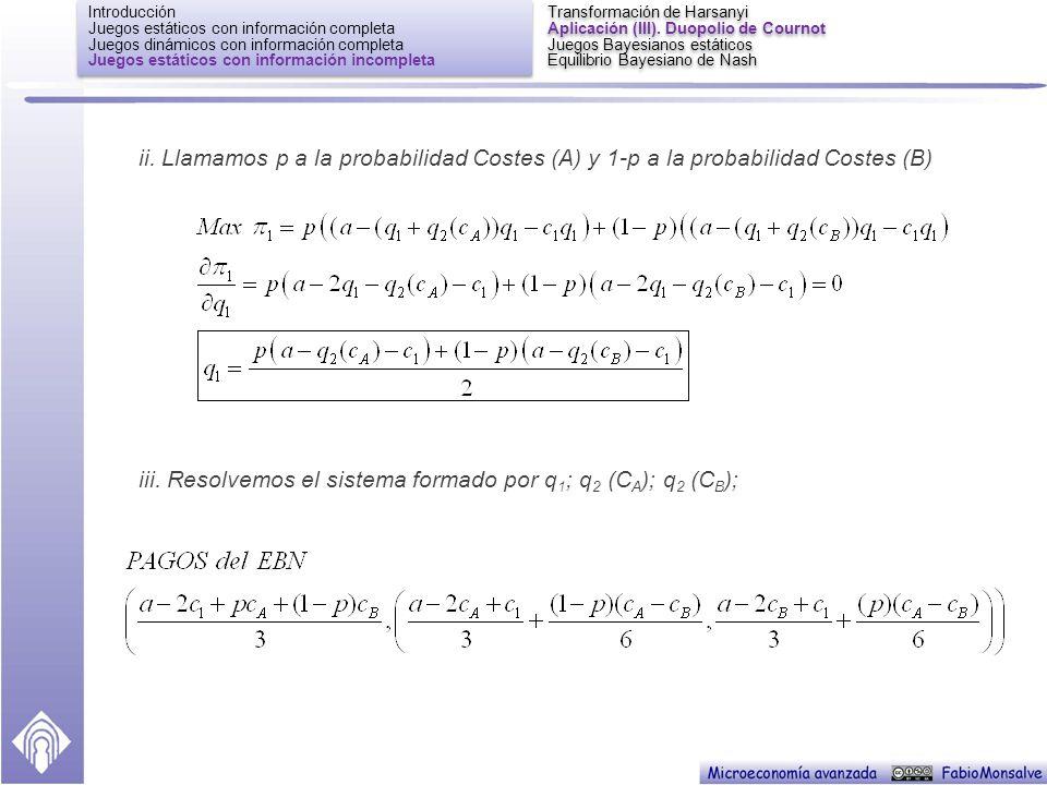 iii. Resolvemos el sistema formado por q1; q2 (CA); q2 (CB);