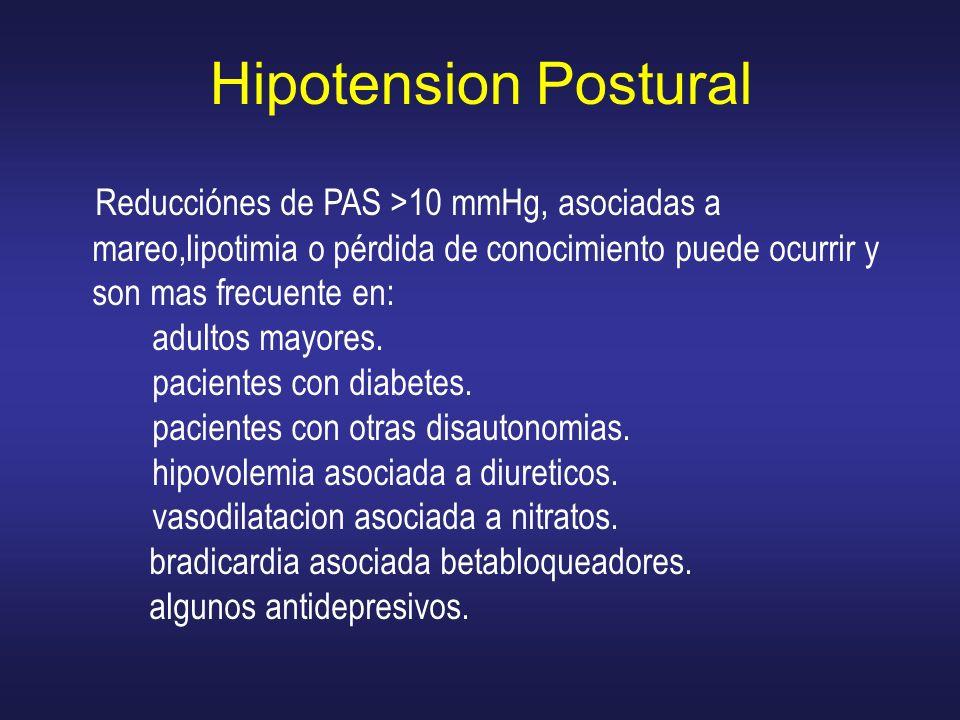 Hipotension Postural Reducciónes de PAS >10 mmHg, asociadas a mareo,lipotimia o pérdida de conocimiento puede ocurrir y son mas frecuente en: