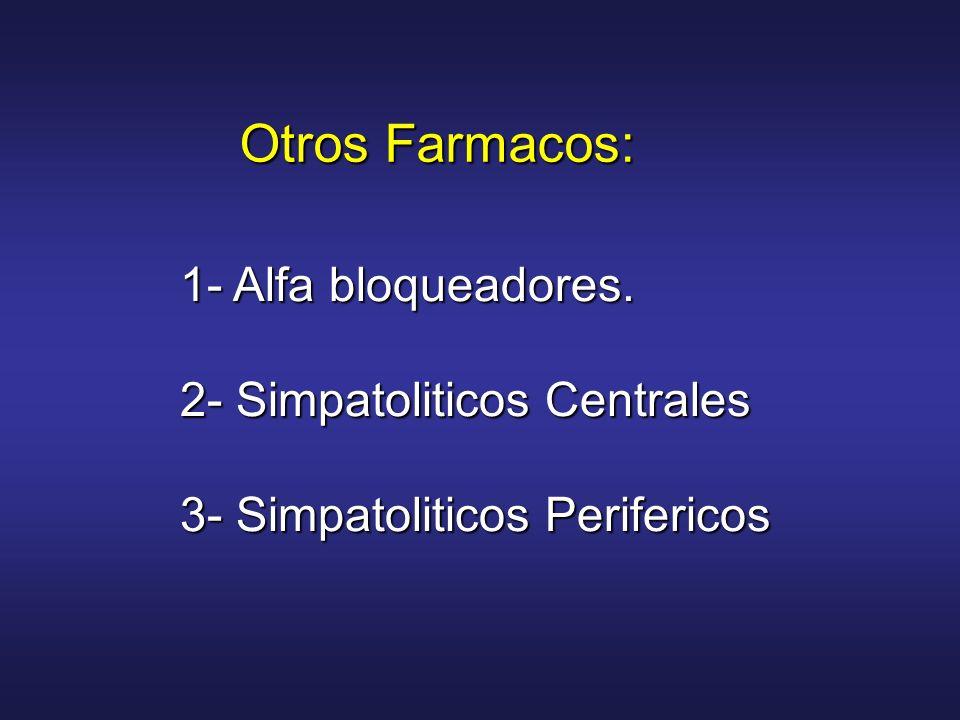 Otros Farmacos: 1- Alfa bloqueadores. 2- Simpatoliticos Centrales